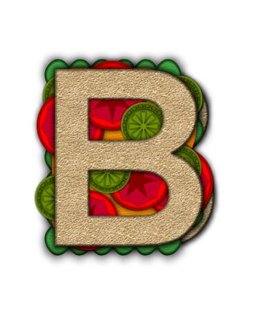 deli: The letter B, in the alphabet set Deli Lunch, resembles bread with inside layers of cheese, tomatoes, and pickles. Stock Photo