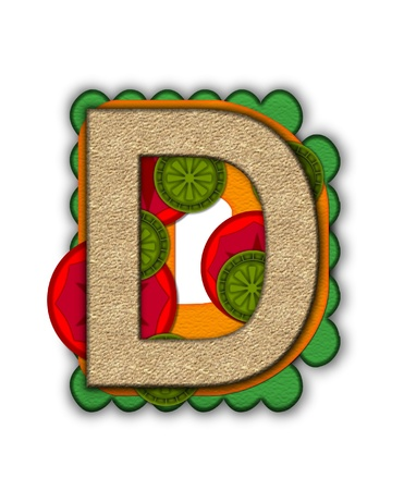 deli sandwich: The letter D, in the alphabet set Deli Lunch, resembles bread with inside layers of cheese, tomatoes, and pickles.