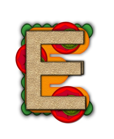 deli sandwich: The letter E, in the alphabet set Deli Lunch, resembles bread with inside layers of cheese, tomatoes, and pickles.