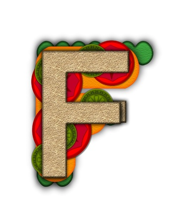 deli sandwich: The letter F, in the alphabet set Deli Lunch, resembles bread with inside layers of cheese, tomatoes, and pickles.
