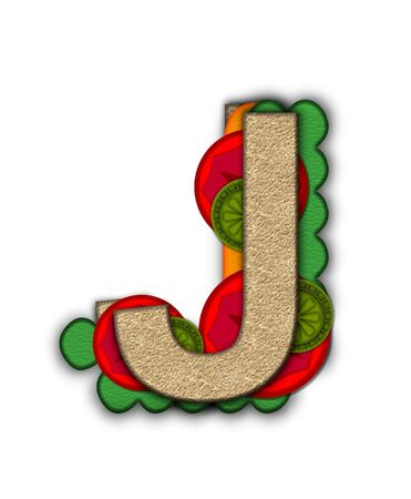 deli sandwich: The letter J, in the alphabet set Deli Lunch, resembles bread with inside layers of cheese, tomatoes, and pickles.