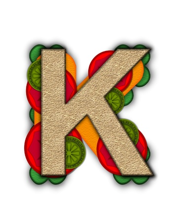 deli sandwich: The letter K, in the alphabet set Deli Lunch, resembles bread with inside layers of cheese, tomatoes, and pickles.