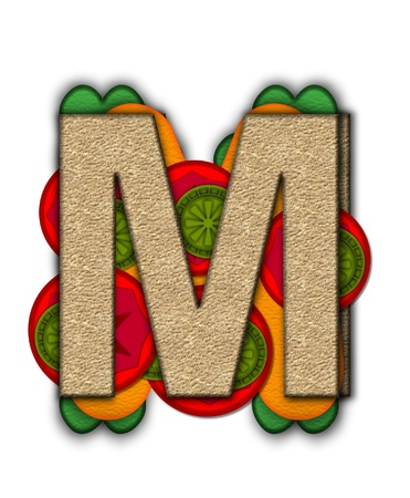 deli: The letter M, in the alphabet set Deli Lunch, resembles bread with inside layers of cheese, tomatoes, and pickles.