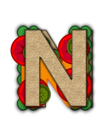 deli sandwich: The letter N, in the alphabet set Deli Lunch, resembles bread with inside layers of cheese, tomatoes, and pickles. Stock Photo