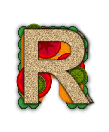 deli sandwich: The letter R, in the alphabet set Deli Lunch, resembles bread with inside layers of cheese, tomatoes, and pickles.