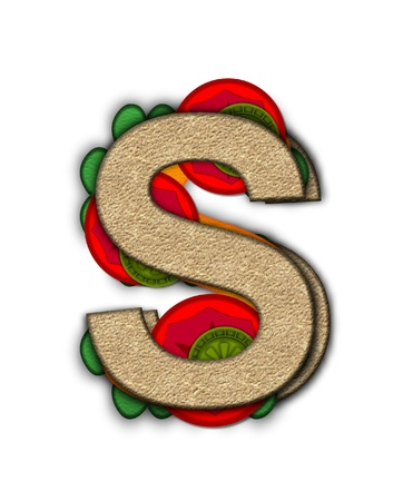 deli sandwich: The letter S, in the alphabet set Deli Lunch, resembles bread with inside layers of cheese, tomatoes, and pickles.
