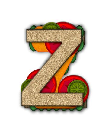deli sandwich: The letter Z, in the alphabet set Deli Lunch, resembles bread with inside layers of cheese, tomatoes, and pickles.