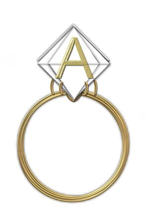karat: The letter A, in the alphabet set Diamond Ring, is gold and sits on a faceted diamond set in a 14 karat gold ring. Stock Photo