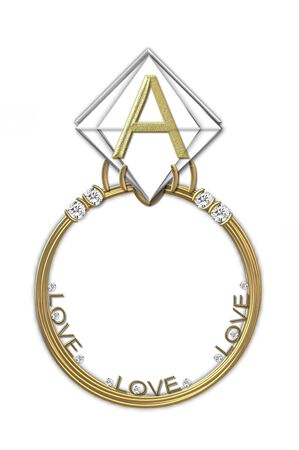 The letter A, in the alphabet set Diamond Ring, is gold and sits on a faceted diamond set in a 14 karat gold ring. photo