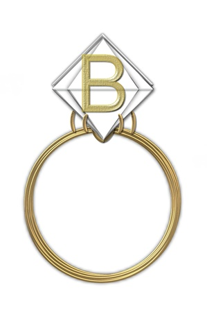 The letter B, in the alphabet set Diamond Ring, is gold and sits on a faceted diamond set in a 14 karat gold ring.