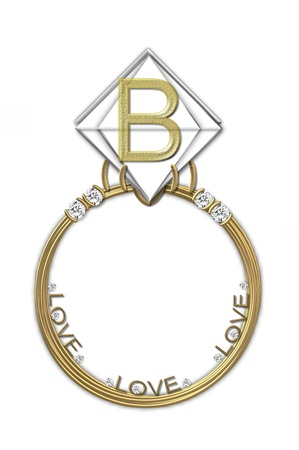 karat: The letter B, in the alphabet set Diamond Ring, is gold and sits on a faceted diamond set in a 14 karat gold ring.