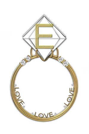 karat: The letter E, in the alphabet set Diamond Ring, is gold and sits on a faceted diamond set in a 14 karat gold ring.