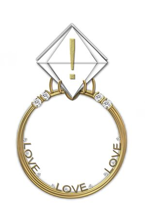 Exclamation point, in the alphabet set Diamond Ring, is gold and sits on a faceted diamond set in a 14 karat gold ring.
