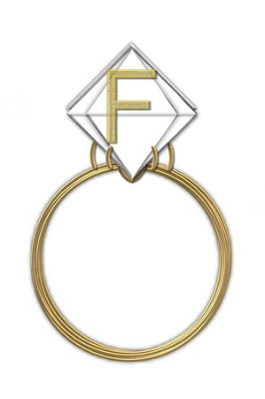 karat: The letter F, in the alphabet set Diamond Ring, is gold and sits on a faceted diamond set in a 14 karat gold ring.