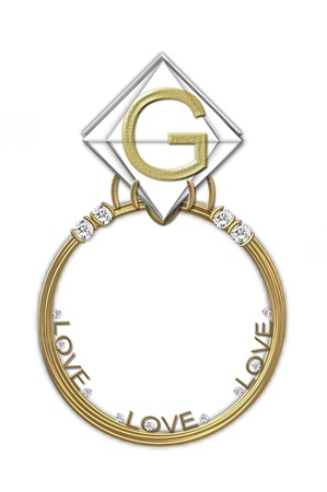 karat: The letter G, in the alphabet set Diamond Ring, is gold and sits on a faceted diamond set in a 14 karat gold ring. Stock Photo