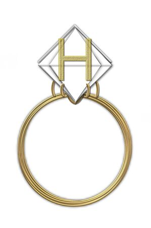 The letter H, in the alphabet set Diamond Ring, is gold and sits on a faceted diamond set in a 14 karat gold ring. photo