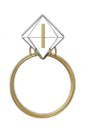 karat: The letter I, in the alphabet set Diamond Ring, is gold and sits on a faceted diamond set in a 14 karat gold ring.