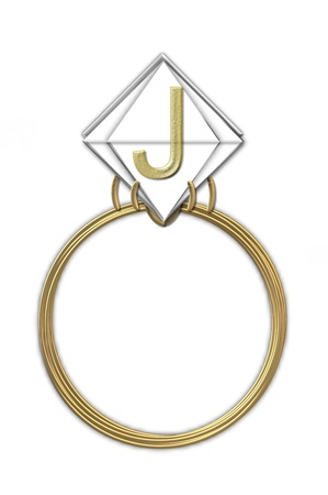 karat: The letter J, in the alphabet set Diamond Ring, is gold and sits on a faceted diamond set in a 14 karat gold ring. Stock Photo