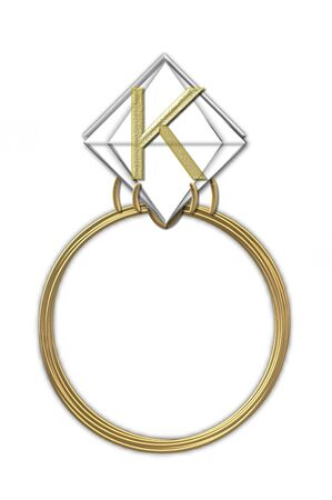 karat: The letter K, in the alphabet set Diamond Ring, is gold and sits on a faceted diamond set in a 14 karat gold ring. Stock Photo
