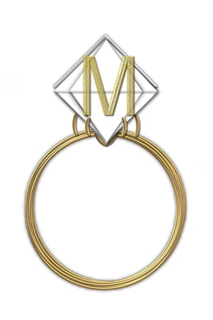 karat: The letter M, in the alphabet set Diamond Ring, is gold and sits on a faceted diamond set in a 14 karat gold ring. Stock Photo
