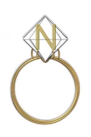 The letter N, in the alphabet set Diamond Ring, is gold and sits on a faceted diamond set in a 14 karat gold ring. photo