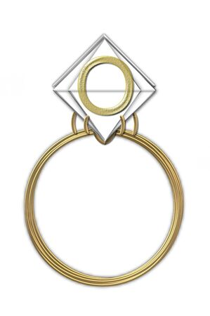 The letter O, in the alphabet set Diamond Ring, is gold and sits on a faceted diamond set in a 14 karat gold ring. photo