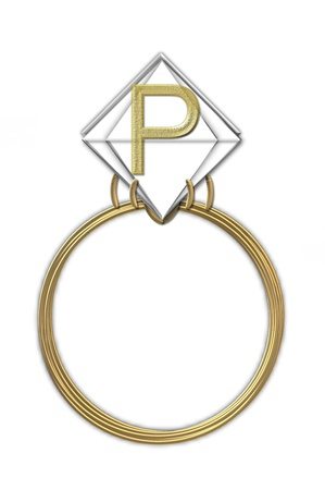 The letter P, in the alphabet set Diamond Ring, is gold and sits on a faceted diamond set in a 14 karat gold ring. Stock Photo - 16321026
