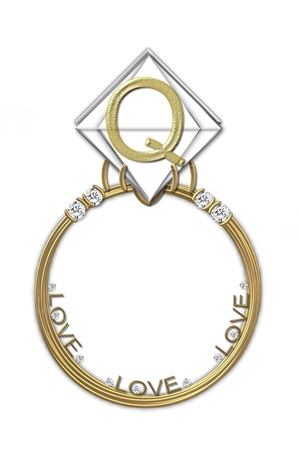 The letter Q, in the alphabet set Diamond Ring, is gold and sits on a faceted diamond set in a 14 karat gold ring. photo