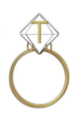 The letter T, in the alphabet set Diamond Ring, is gold and sits on a faceted diamond set in a 14 karat gold ring  photo