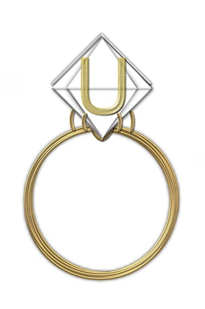 The letter U, in the alphabet set Diamond Ring, is gold and sits on a faceted diamond set in a 14 karat gold ring  photo