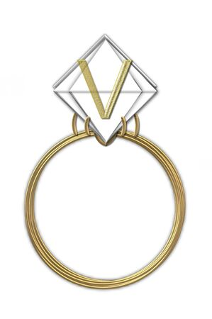 The letter V, in the alphabet set Diamond Ring, is gold and sits on a faceted diamond set in a 14 karat gold ring  photo