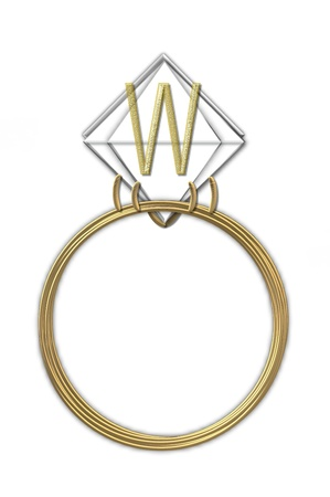 The letter W, in the alphabet set Diamond Ring, is gold and sits on a faceted diamond set in a 14 karat gold ring  photo