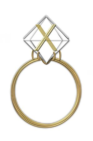 The letter X, in the alphabet set Diamond Ring, is gold and sits on a faceted diamond set in a 14 karat gold ring