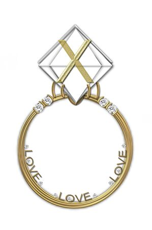 The letter X, in the alphabet set Diamond Ring, is gold and sits on a faceted diamond set in a 14 karat gold ring  photo