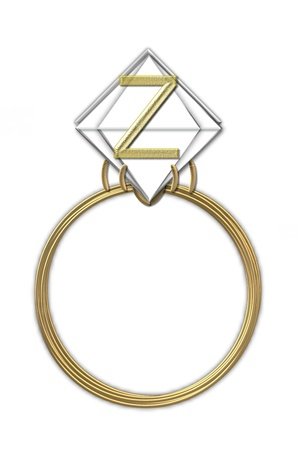 The letter Z, in the alphabet set Diamond Ring, is gold and sits on a faceted diamond set in a 14 karat gold ring  Reklamní fotografie