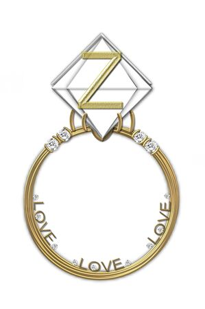 The letter Z, in the alphabet set Diamond Ring, is gold and sits on a faceted diamond set in a 14 karat gold ring  photo