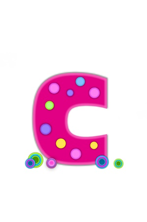 The letter C, in the alphabet set Dots, is hot pink with lighter pink outline   Letter has colored dots scattered across surface   Multi-colored circles sit at base of letter