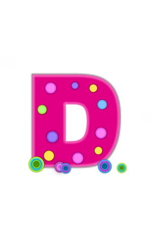 The letter D, in the alphabet set Dots, is hot pink with lighter pink outline   Letter has colored dots scattered across surface   Multi-colored circles sit at base of letter  Stock Photo