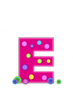 The letter E, in the alphabet set Dots, is hot pink with lighter pink outline   Letter has colored dots scattered across surface   Multi-colored circles sit at base of letter