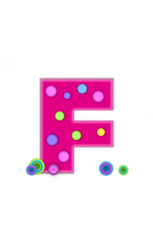 The letter F, in the alphabet set Dots, is hot pink with lighter pink outline   Letter has colored dots scattered across surface   Multi-colored circles sit at base of letter  photo