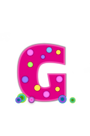 g spot: The letter G, in the alphabet set Dots, is hot pink with lighter pink outline.  Letter has colored dots scattered across surface.  Multi-colored circles sit at base of letter. Stock Photo