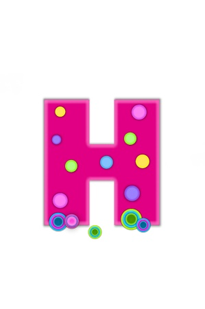 The letter H, in the alphabet set Dots, is hot pink with lighter pink outline.  Letter has colored dots scattered across surface.  Multi-colored circles sit at base of letter. Stock Photo