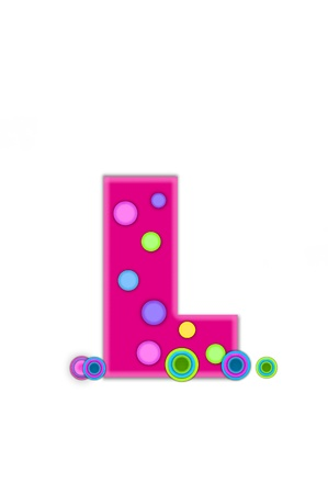 The letter L, in the alphabet set Dots, is hot pink with lighter pink outline.  Letter has colored dots scattered across surface.  Multi-colored circles sit at base of letter. Stock Photo
