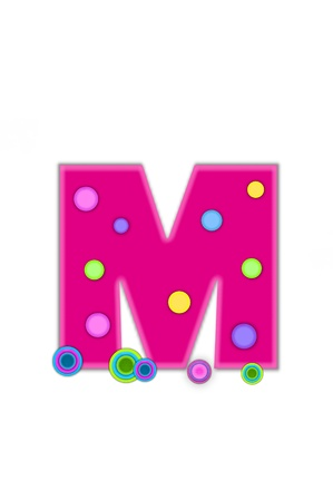 The letter M, in the alphabet set Dots, is hot pink with lighter pink outline.  Letter has colored dots scattered across surface.  Multi-colored circles sit at base of letter. Imagens