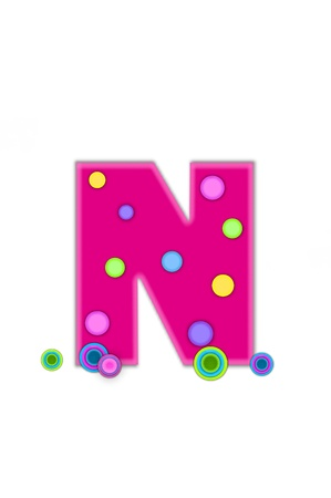 The letter N, in the alphabet set Dots, is hot pink with lighter pink outline.  Letter has colored dots scattered across surface.  Multi-colored circles sit at base of letter.