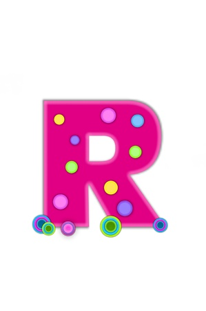 hot surface: The letter R, in the alphabet set Dots, is hot pink with lighter pink outline.  Letter has colored dots scattered across surface.  Multi-colored circles sit at base of letter.