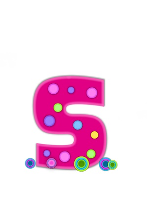 The letter S, in the alphabet set Dots, is hot pink with lighter pink outline.  Letter has colored dots scattered across surface.  Multi-colored circles sit at base of letter.