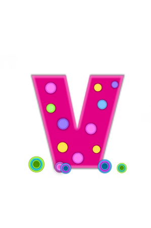 The letter V, in the alphabet set Dots, is hot pink with lighter pink outline.  Letter has colored dots scattered across surface.  Multi-colored circles sit at base of letter. Stock Photo