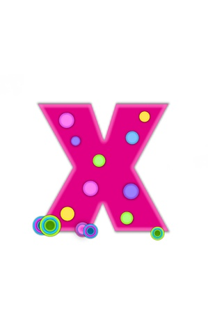 The letter X, in the alphabet set Dots, is hot pink with lighter pink outline.  Letter has colored dots scattered across surface.  Multi-colored circles sit at base of letter. photo