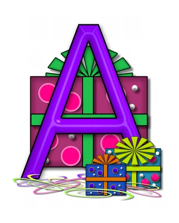 text box: The letter A, in the alphabet set Boxes and Bows, is 3D purple and surrounded by gift boxes.  Colored streamers cover base of letter and boxes.